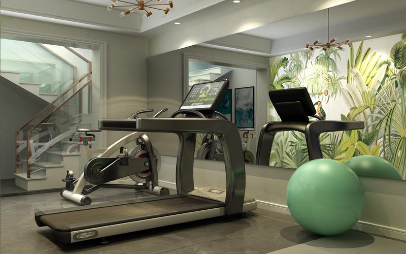 临沂装饰公司东易日盛金泰华府-四室两厅装修-简约美式风格健身房效果图