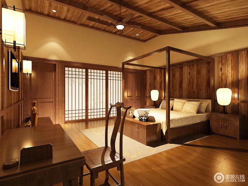 卧室粉刷了米黄色的漆,搭配原木地板,锥子形木吊顶,还原了一个和暖而原始的自然之所;中式四柱床搭配新中式实木家具,一草一木,一灯一器,让人享受东方之美。
