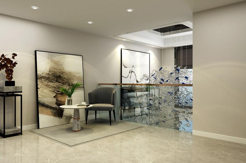 临沂装饰公司东易日盛金泰华府-四室两厅装修-简约美式风格二层吊饰效果图