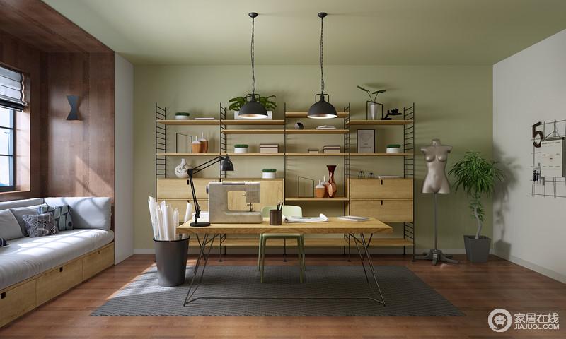 木架书柜兼具收纳架的作用,解决了空间的杂乱,并搭配原木书桌、铁艺吊灯彰显些许工业气息,却让主人能有私密空间。