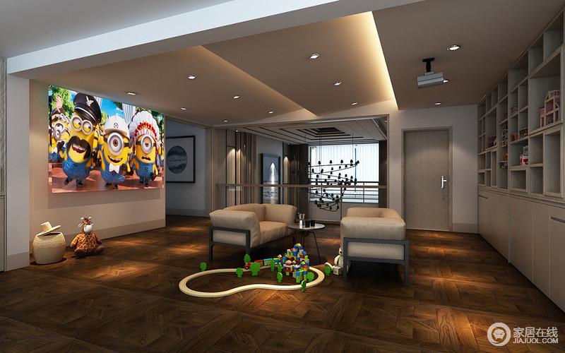 影音室位于二楼,开放式的空间增加了观影体验,递进式的吊顶因为灯带和射灯而显得现代;收纳柜的几何感与地板的几何效果形成给你截然不同的效果,变化着形式,让驼色沙发和圆几不显沉闷。