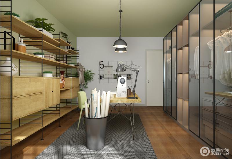 整个空间以几何的形式来解决收纳,同时,以工业设计来增加空间的实用美学;原木的温实与钢铁的硬朗在家具的点缀中,更富生活之意。