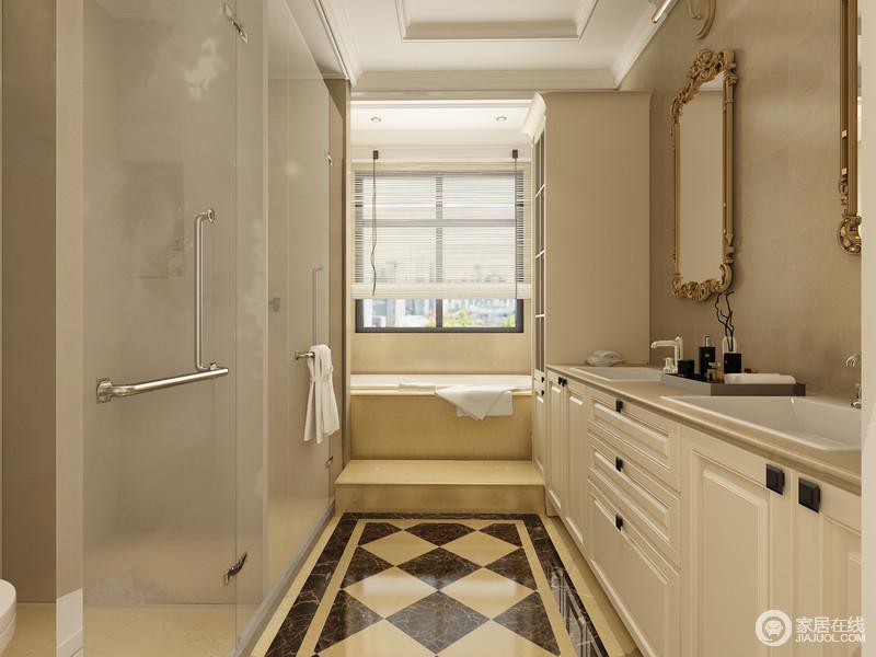 卫生间在原有建筑造型的基础上将浴缸区和淋浴区分隔开,米色与黑褐色砖石以菱形铺贴出复古时髦,并增加了空间色彩;白色实木和米白色台面自成一体,黄铜框镜饰的复古设计尽显奢华,让空间不失华贵的基础上,实用而得体。