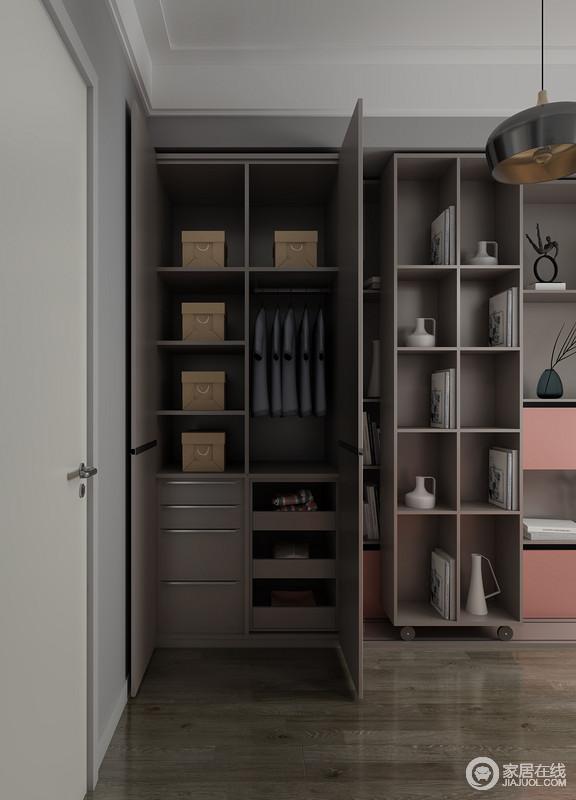 从细节来看,橱柜的设计也是经过细分设计的,不同的物品可以放置在不同的储物架,让收纳更为讲究。