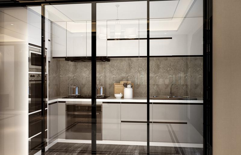 临沂装修公司东易日盛装饰意林公馆-四室二厅装修-新中式轻奢风格厨房效果图