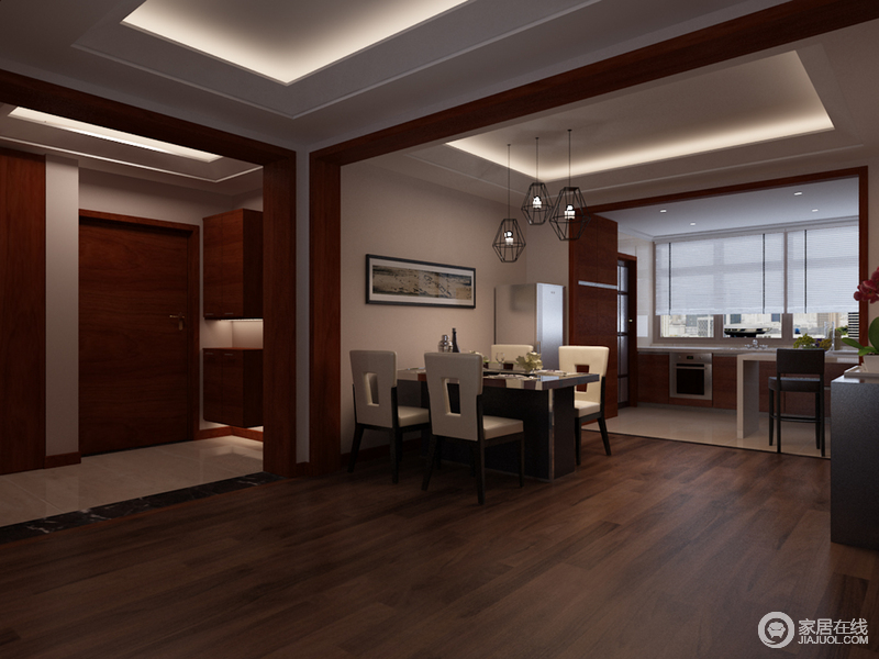 餐厅开放式的格局,更显空间感,餐厨之间也形成互动;褐色地板令空间足够稳重,一组驼色西餐桌也是十分考究和得体,再吊灯的装饰中,打造温馨的生活气息。