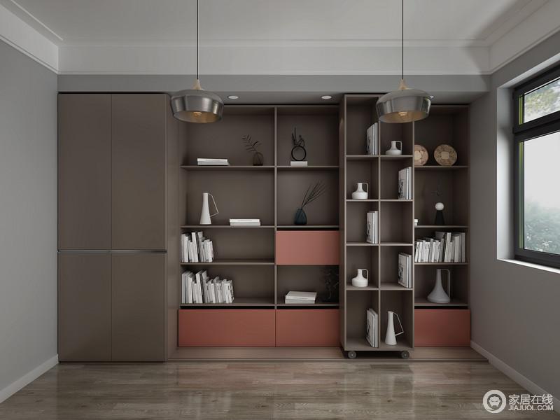 整个空间因为定制得几何储物柜,让空间简洁大气,柜面板材的色彩搭配,简单时尚。