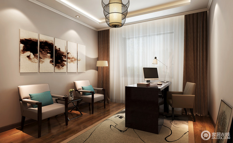 整个书房以驼色为基调,咖色窗帘搭配白色纱幔,构成空间的厚实与曼妙;新中式家具组合搭配拼接挂画,营造出了东方禅意,灯具作为点睛之笔,令生活愈加文艺、雅静。
