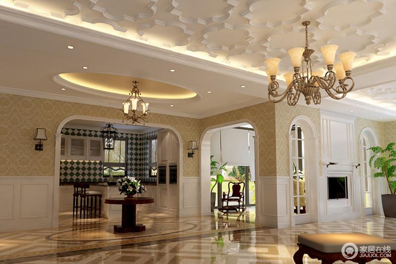 空间墙面采用黄白拼接方式,花纹与线条的组合,呼应着天花与地面,使整个空间透着细腻精致;拱形门洞的设计,又使空间富有圆润的节奏感,厨房内部白色的上下柜间,白绿花砖墙具有极强视觉效果。