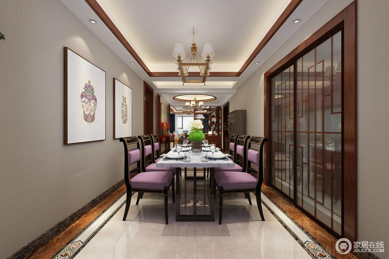 浅灰色与木色的搭配,在狭长的空间里,制造出安宁深邃的平和感;餐厅则巧妙且大胆的加入了紫色,利用座椅和墙画的点缀辉映,呈现出空间上的华贵和时髦,让就餐环境透着细节上的时尚精致。