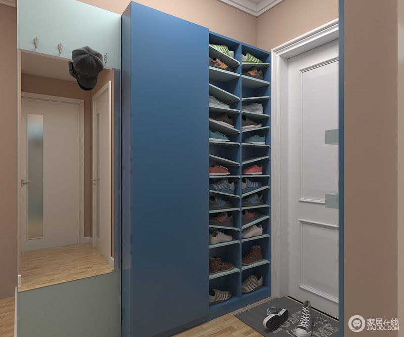 通过活动层板与挂钩,可为家中定制两款不同功能的超薄鞋柜。不管是常规鞋柜区+挂衣+矮靴方柜,还是常规鞋柜区+层板区+高靴都能充分满足家中成员不同的使用习惯。