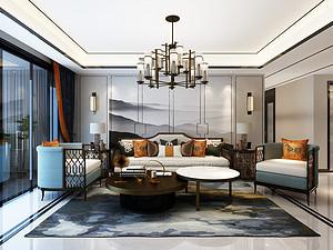 意林公馆-190平米四室两厅装修-新中式轻奢风格装修案例