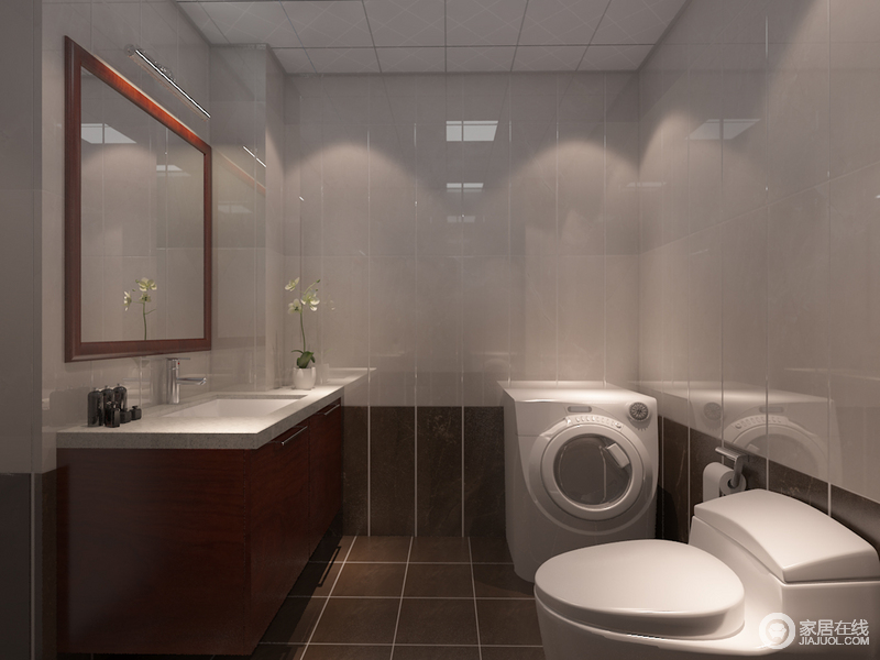 卫生间墙面以灰白色、褐色地砖拼接的方式,构建空间层次,利落简洁;盥洗柜胡桃色奠定了空间的稳重,让生活足够舒适。