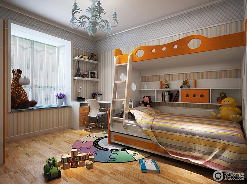 鲜艳活泼的色彩最容易营造出活力感的空间氛围,儿童房以条纹、方格图案壁纸铺陈,并加入橙白色,朝气蓬勃的明媚溢满空间,有利于培养宝宝活力十足的性格。