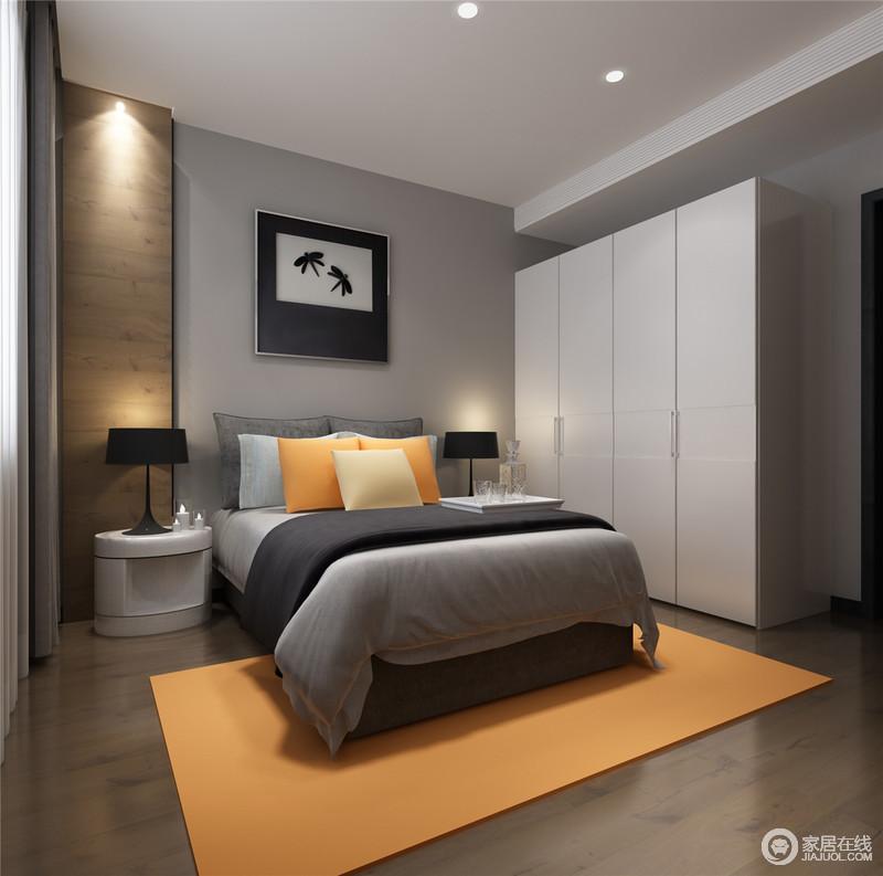灰白主调中穿插鲜明的橙黄色,卧室空间呈现出愉悦的欢快情绪。背景墙面上一条木板墙,使空间在视觉上将背景与地板互为一体,构建完整的空间结构造型。