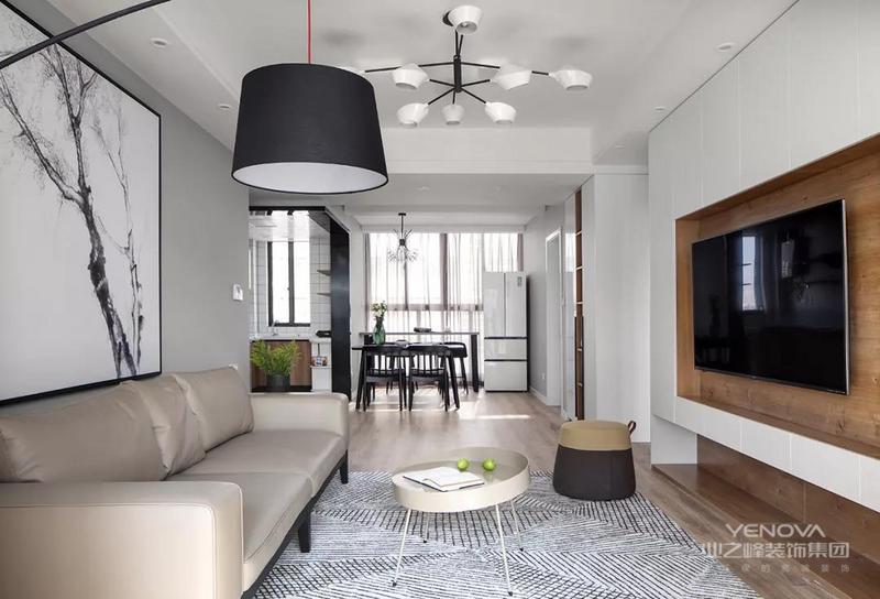 整体客厅空间面积相对紧凑,在现代舒适的风格与格局布置下,也呈现出一种娴雅轻松的休闲氛围。