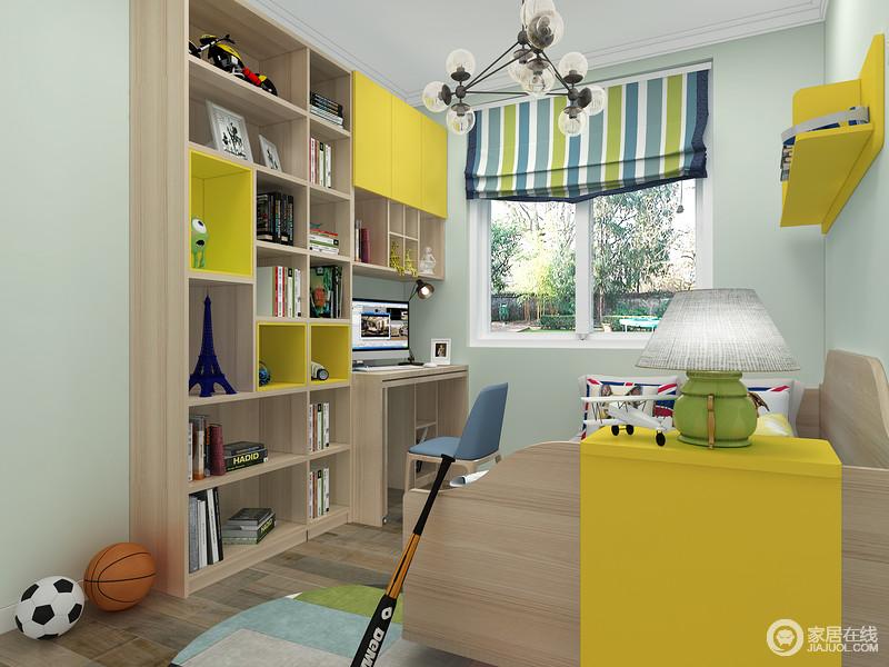 书桌和书架的设计呈一型既能有效地分割空间,又让整个书桌+书架有了强大的实用功能。