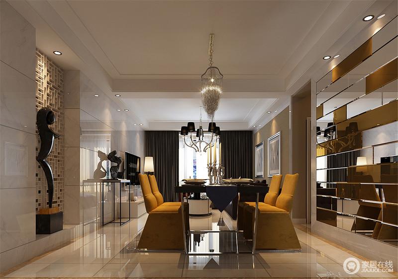 金属实木餐桌与姜黄色座椅的配搭,巧妙的同背景墙上拼色玻璃组合异曲同工,透露着丝丝贴合的设计感;而另一侧背景墙上的中式花窗,配上雕塑摆件,混搭出独特美感,整个餐厅极具艺术风情。