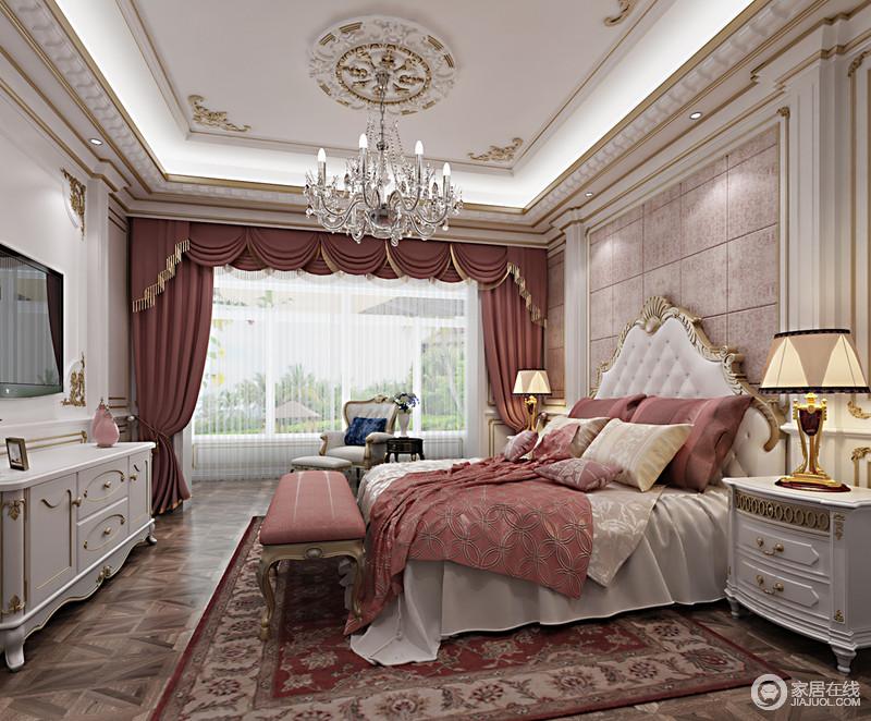 宽大的落地窗带入良好的采光,使卧室看上去舒朗开阔;甜美轻柔的红色结合着干净白色,主打的在空间中铺开,并细腻淡雅的诠释空间;描金雕花精巧镶饰在家具上,加上布艺纹饰的点缀,整个房间被镌刻的高雅契阔。