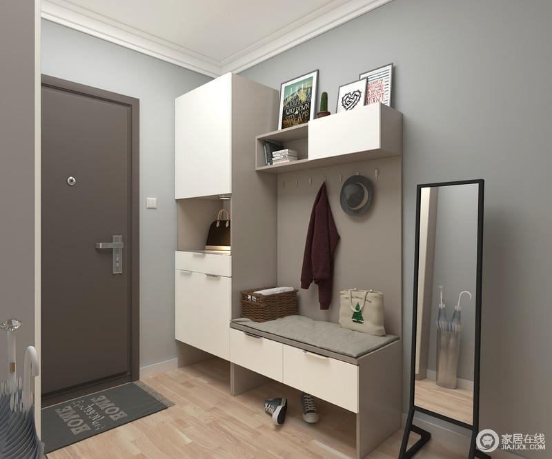充分利用柜体结构,柜体与板件结合,200mm深度的超薄鞋柜收纳充足而方便。换鞋凳同时兼具抽屉功能,背板兼具挂放和小件收纳,整体功能设计全面。