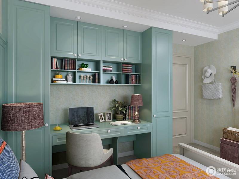 卧室定制得衣柜让生活具有收纳性,妥妥地将衣物都放置起来,避免了杂乱,同时,蓝色的板材也激活了空间色彩。