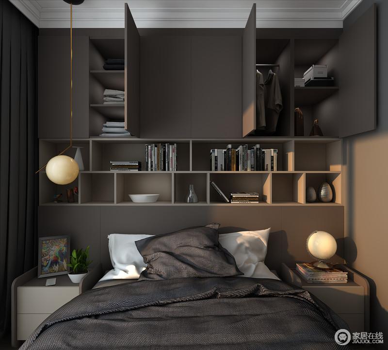 卧室以浅灰色来粉刷空间,并通过定制书柜来作为床头,既解决了空间储物的问题,也让几何柜的设计,来张扬现代美学。