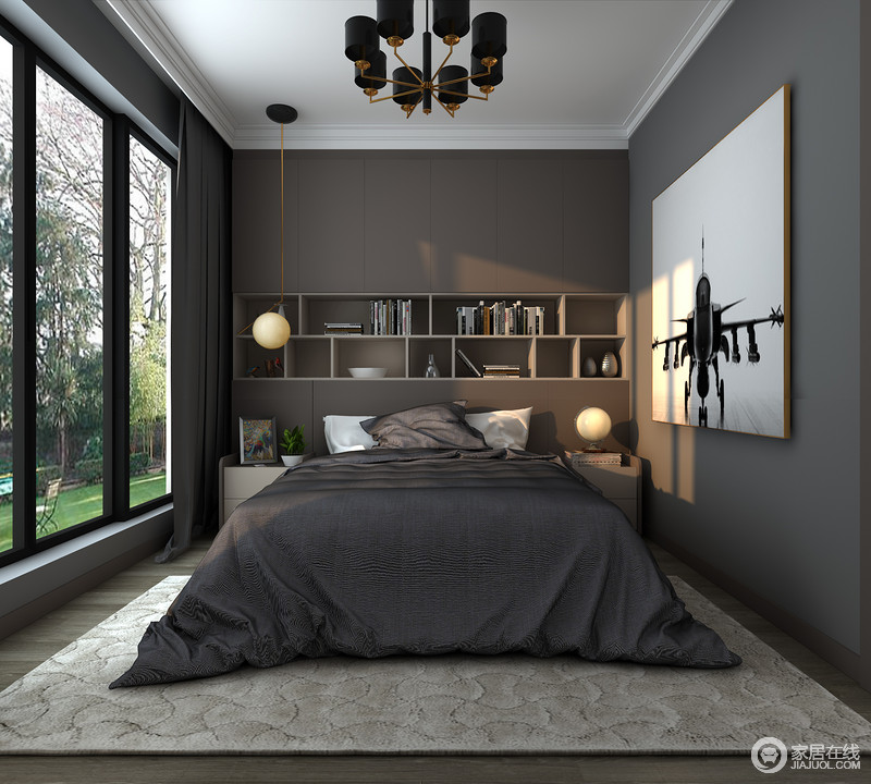 卧室看似暗沉,但是储物柜强大的收纳设计,让生活极为方便;浅灰色的墙面悬挂了一副大面积留白画,搭配着褐色床品和浅灰色地毯,稳重为舒适,落地窗的通透,减少了深色带来的闭塞。