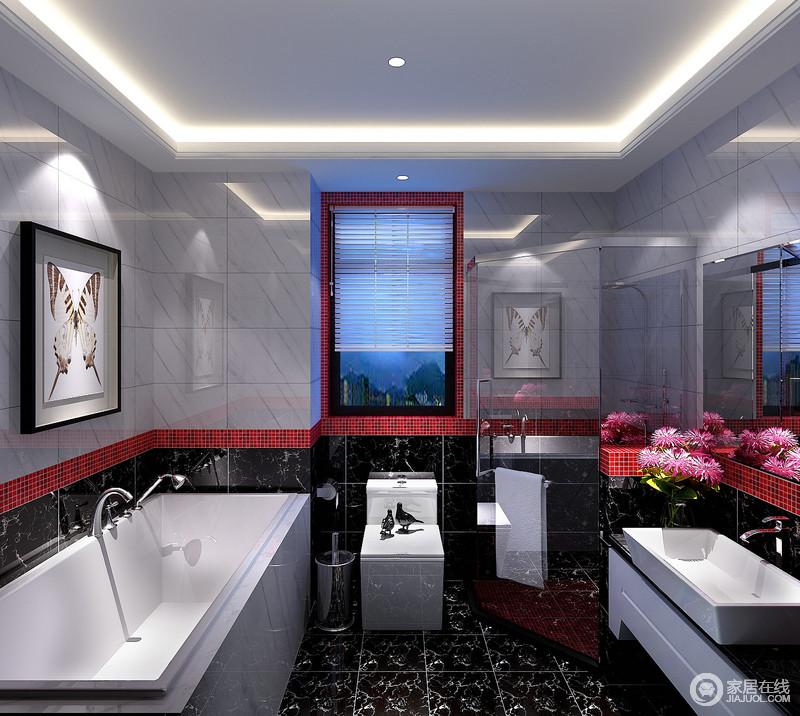 卫浴间拼接式的墙面赋予多元化的视觉感受,上浅下深的设计手法,给人活泼高雅的气质;黑白间以正红色的马赛克砖腰线勾勒,婉约灵巧;白色的洁具愈发衬托的空间质感讲究,色彩的碰撞与组合,也让空间时髦有趣。