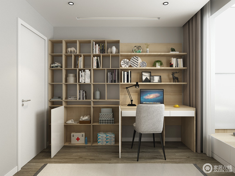 每一个空间都具有不同的属性,空间从学习区、休息区都做了划分,让空间具有收纳美学。