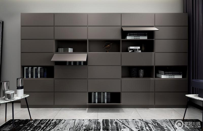多功能书柜,可置物可收纳,满足休闲、办公和休息的多功能需求。