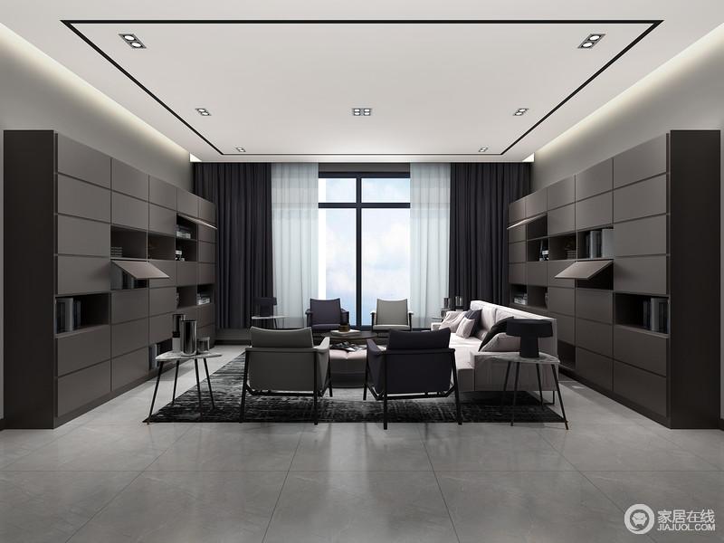 序列排列的书柜收纳有术,风格统一,家具风格统一减少凌乱感。