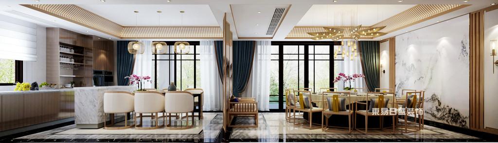 桂林安厦•漓江院子别墅1400㎡新中式风格:厨房餐厅装修设计效果图