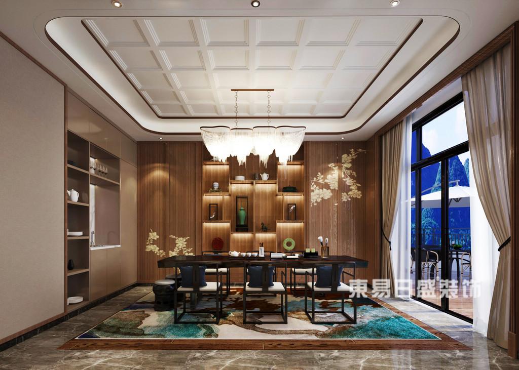 桂林安厦•漓江院子别墅1400㎡新中式风格:书房装修设计效果图