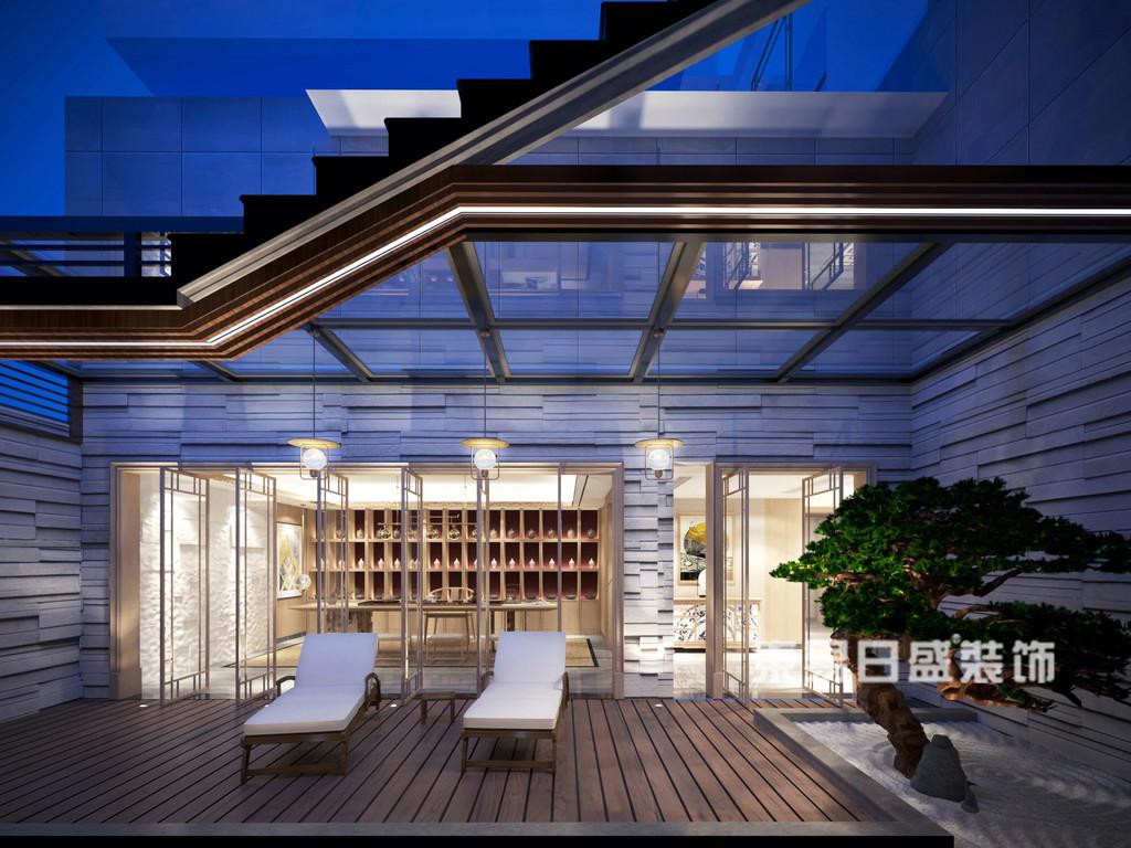 桂林安厦•漓江院子别墅1400㎡新中式风格:休闲室装修设计效果图