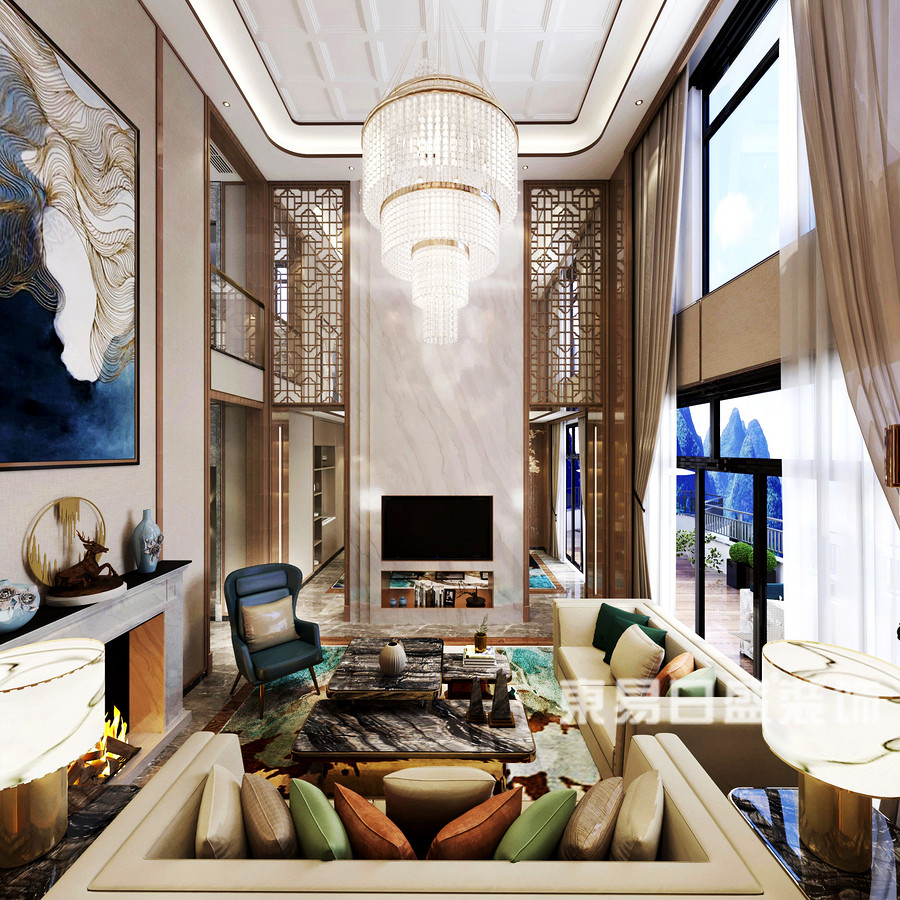 桂林安厦•漓江院子别墅1400㎡新中式风格:客厅电视墙装修设计效果图