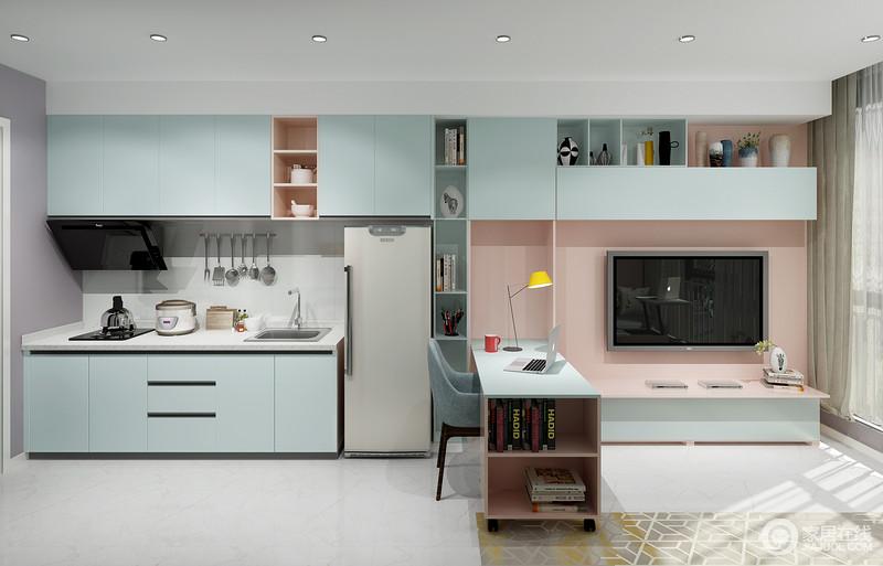 全屋整体定制,简洁又不缺设计感,宜减不宜繁,宜藏不宜漏。 层层格板设计提供丰富收纳空间。