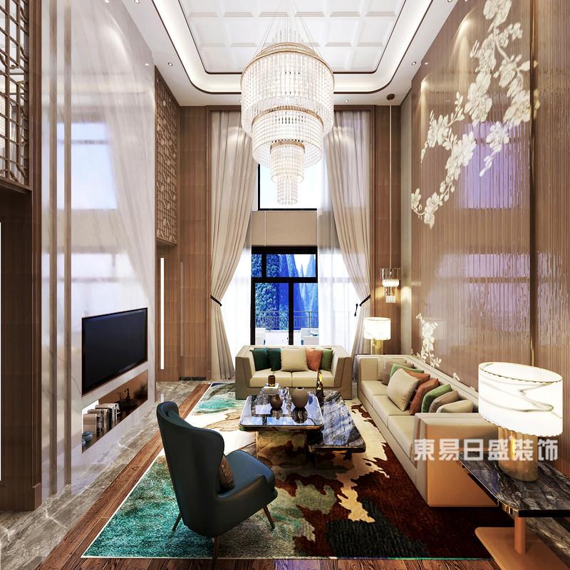 桂林安廈?漓江院子別墅1400㎡新中式風格:客廳裝修設計效果圖