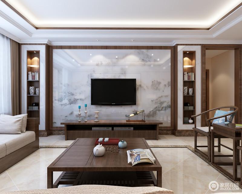 木质的沉厚涌动着自然的拙素,运用在家具上和墙面装饰上,使客厅氛围满溢着秉物宁心的妙境;电视墙上,设计师巧妙的利用内嵌木格装饰置物,中央木线勾勒的理石石材上,纹理如缥缈的山水,为空间增添一份淡雅的诗情。
