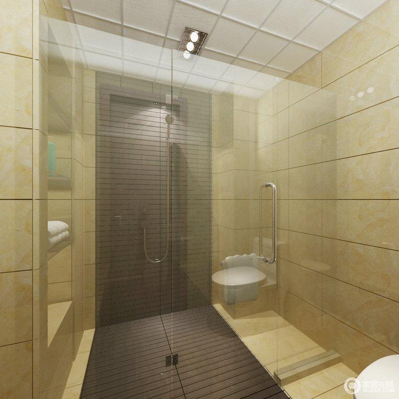 卫生间铺贴了米色系砖石,利落之中,自然而然地渲染了一份温馨,让原本直楞的空间也不显得生硬;墙内的置物架解决了实用性,而防滑砖的设计,让沐浴也更安全。