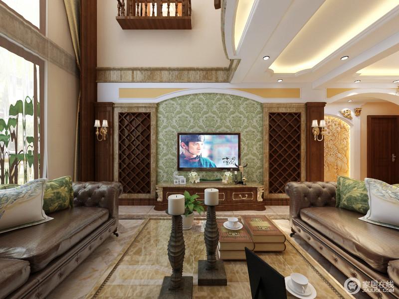 大自然系的绿色装点着电视背景墙,与沙发上的印花靠包相呼应,在棕木的映衬下,营造出绿意盎然的室内氛围。大落地窗引入自然光线,增加室内的通透明亮感。