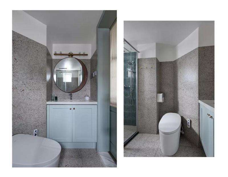卫生间内铺贴了水磨石瓷砖,洗手台被嵌入到了卫生间内的凹槽处,淋浴房和马桶分开,整体干湿分离的设计让使用更加方便。