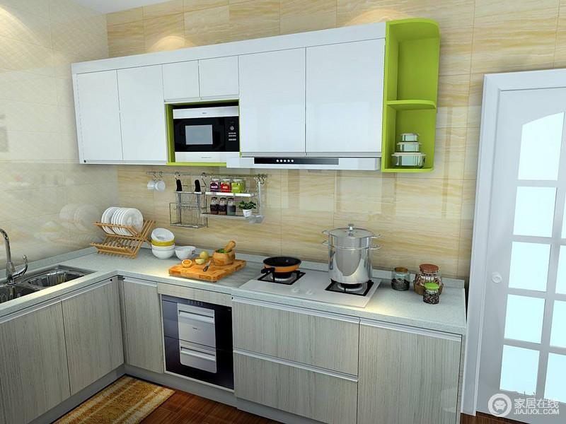 从整体橱柜到背景墙、地板,材质和色彩的碰撞对比,让厨房的层次很鲜明,局部的收纳也很合理,透露着规整质感。