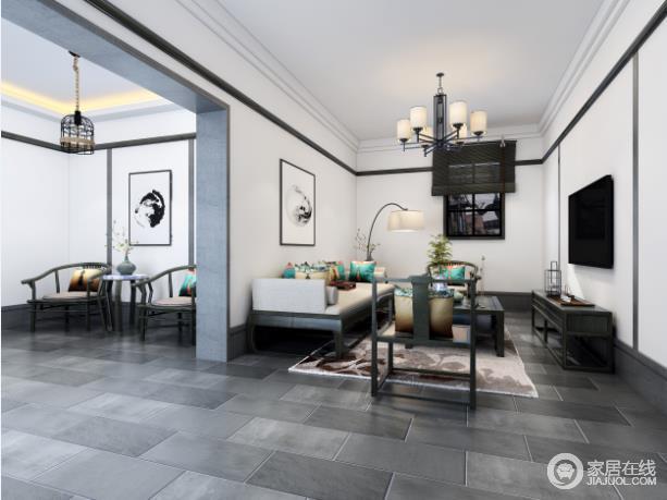 客厅的主色调用的是黑白灰组成,在软装部分使用了相对鲜艳的色彩作为搭配,这样看起来空间并不单调有重点。