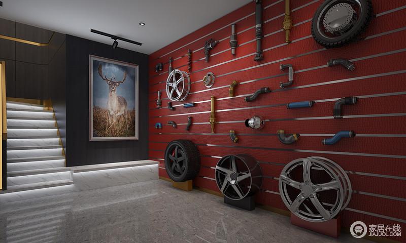 屋主作为典型的爱车一族,喜欢搜集各种构车零件,负二层就是他的专属领域。将各种搜集的零件通过新颖的方式精心布置于墙上,既突出房子本身的自然优势又彰显主人的个人品味。