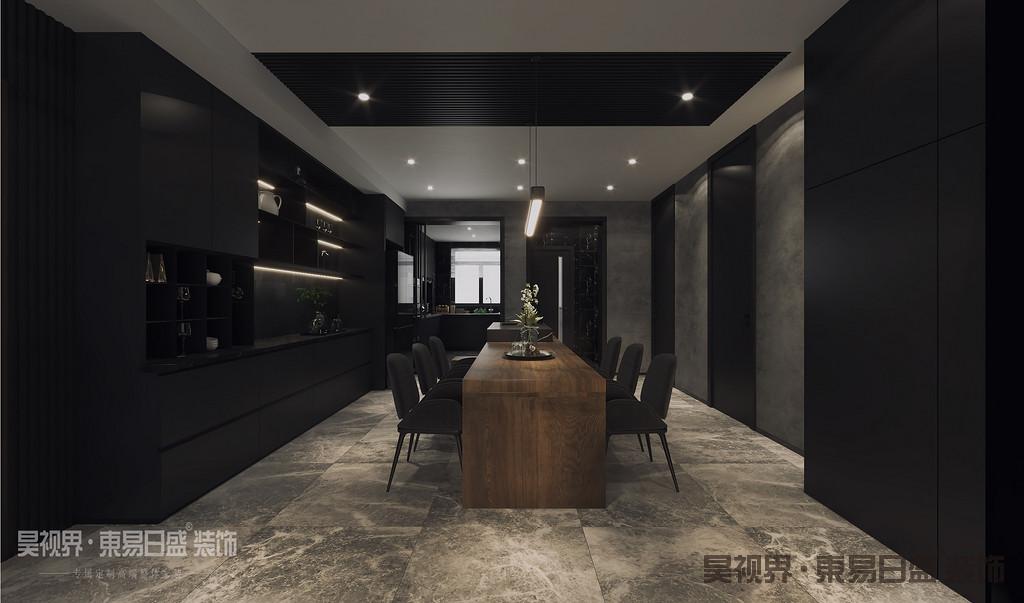 餐厅设计以黑灰色为基调,搭配独特的木质餐桌营造出个性时尚的现代感,体现的是更加年轻时尚的生活方式。