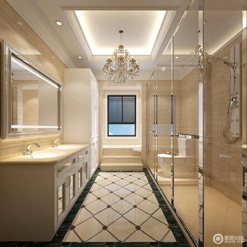 卫生间随狭小,但是,设计巧妙地解决了浴缸和淋浴区的规划,让其互不影响的同时,还足够解决干湿分离;米色砖搭配暖光,让空间更显干净,菱形地砖的动律与盥洗柜的实用,让卫浴生活更为别致。