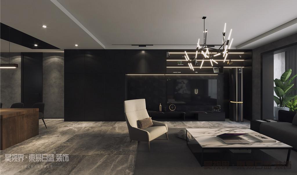 客厅壁挂电视的区域以别致造型做了电视背景墙,极简吊顶搭配统一的白墙,再摆上色调一致的沙发和大理石台面的茶几,给人以清爽大方的既视感。