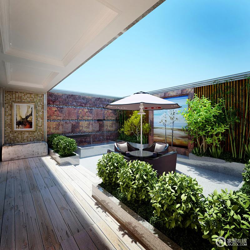 庭院现代的材质与古朴的元素发生碰撞,简单之中不失精致,原始之中造就清新;户外家具位于庭院中央,让你足够在周末放松一下。
