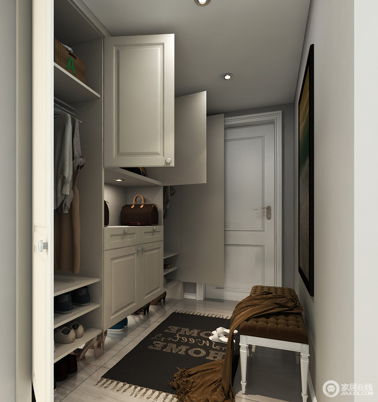 门厅柜内部功能分区合理,长衣短衣、靴鞋分类收纳,且备有开放格置物区,贴心地设置了换鞋凳,让全家人都能更舒适地出入家门。