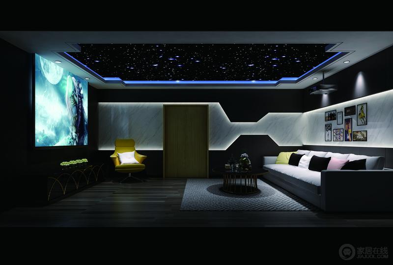 影音室深邃的光影让人能体验一个安谧的观影时刻,通过黑与白之间的转换制造了一个隧道般的沉寂化空间;吊顶的蓝色灯带颇为纯粹,让现代简约而个性的家具愈显后现代的超然脱俗。